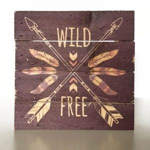 The Spring Shop Wild & Free Wood Decor 6in x 6in